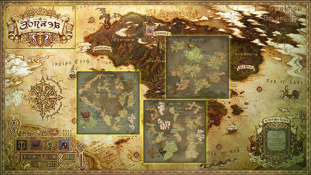 In Game map on World map ffxiv