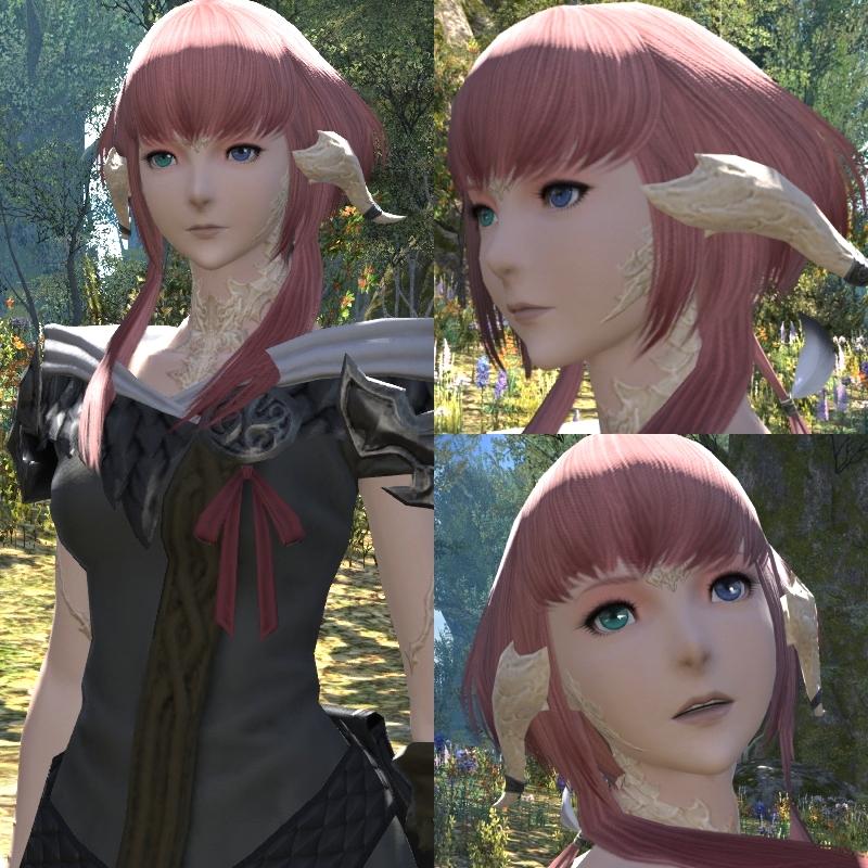 いつものツインテがなかったので、髪型でずいぶん悩んだけど、とりあえずこんな感じに。 アウラはロングよりショートのほうが似合うと思います。  顔の鱗は取りました。