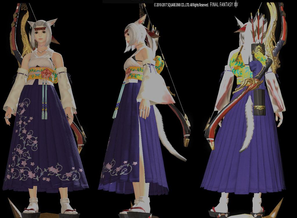 ハイサマナードレスで弓道スタイル